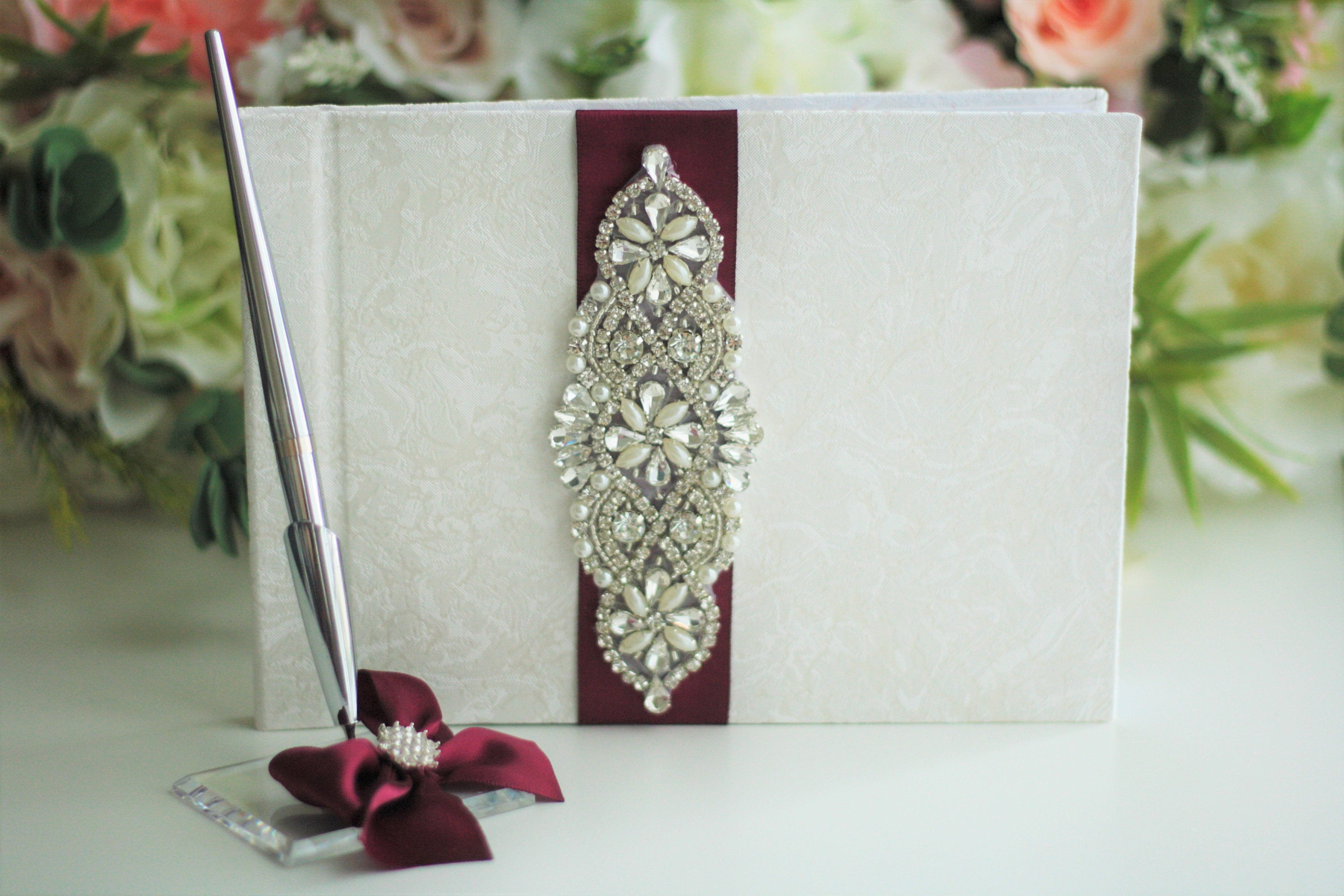 Guest Sign in Book Rose Gold  Guest Book wedding guest book White Feather and Brooch Guest Book set