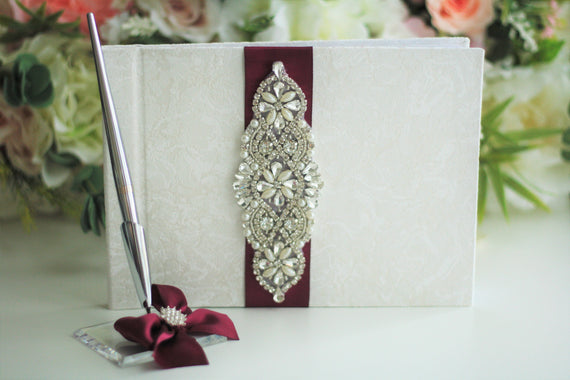 Burgundy Guest Book and Pen Red Sign in Book Wedding Guest Book with Pen Wedding Wish Book Memory Book Wedding Journal Custom Guestbook