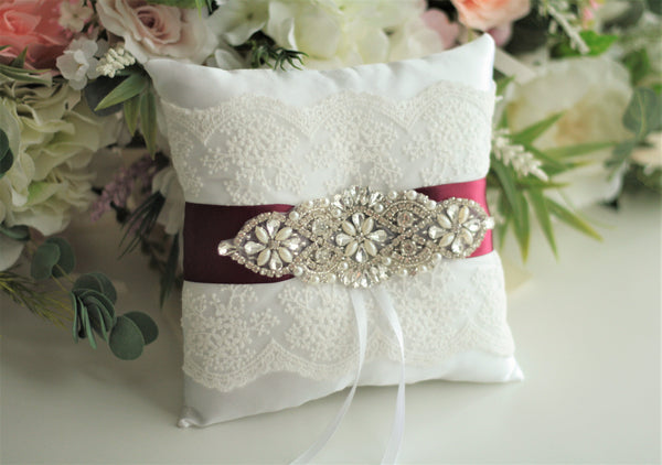 Burgundy Ring Pillow Lace Wedding Pillow Ring Bearer Pillow for Rings Red Ring Holder Lace Ring Pillow Wedding Ceremony Pillow Ring Cushion