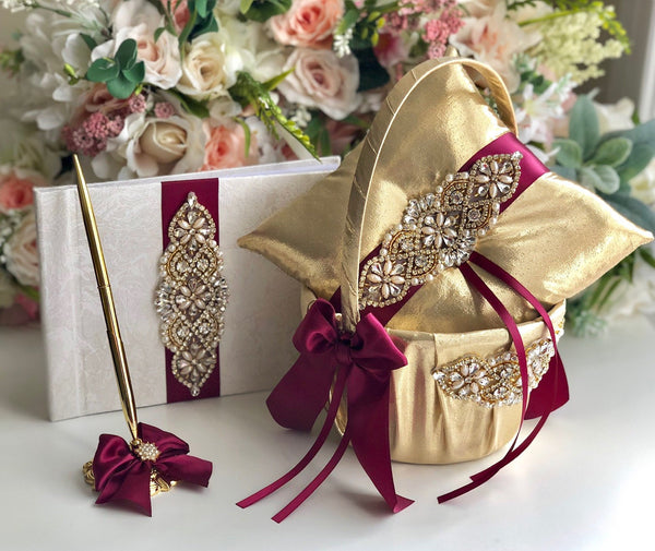 Gold Flower Girl Basket & Ring Bearer Pillow Burgundy Wedding Flower Basket Marsala Ring Pillow Gold Wedding Basket Gold Guest Book and Pen