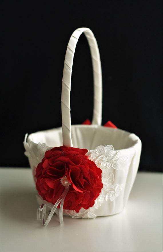 Red Flower Girl Basket Red Wedding Basket Shabby Chic Basket Lace Wedding Basket Red Flower Basket Ceremony Basket Wedding Accessories