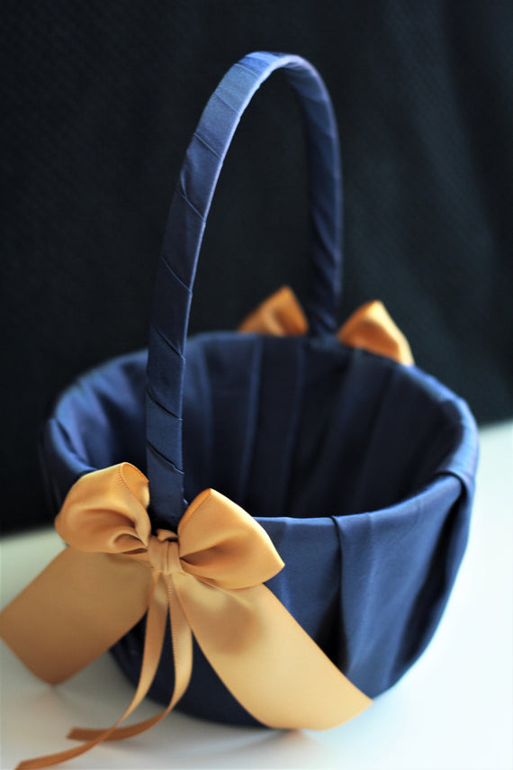 Navy Flower Girl Basket / Navy Gold Basket / Wedding Basket / Ceremony Basket / Flower Girl Proposal / Flower Girl Baskets