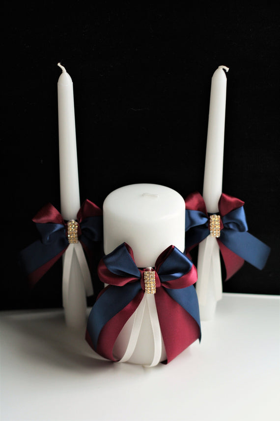 Navy Wedding Candles Navy Unity Candle Set Burgundy Candles Wedding Unity Candles Ceremony Candles Church unity candles pillar stick candles