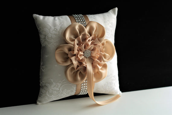 Beige Wedding Ring Pillow Champagne Pillow Ring bearer Pillow Ring Holder Beige Wedding Pillow Beige Ring Pillow Lace Ring Pillow for Rings