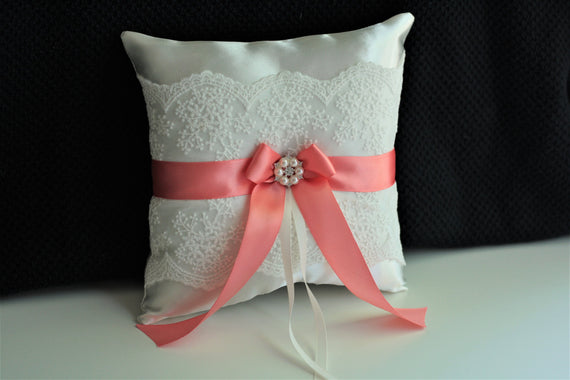 Coral Ring Bearer Pillow Coral Wedding Pillow Coral Ring Holder Lace Ring Pillow and Basket Coral Pillow for Rings Wedding Ceremony Pillow