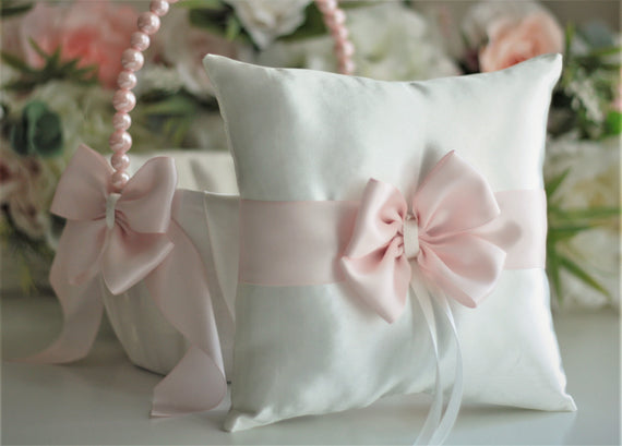 Blush Flower Girl Basket and Ring Bearer Pillow set Blush Pink Wedding Basket and Pillow Pearl Basket Pink ring Pillow Blush Ring Holder