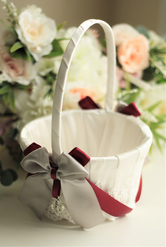 Gray Wedding Basket Gray Flower Girl Basket for Flowers Red Flower basket Gray Wedding Ceremony Basket for Petals Basket Wedding Accessories