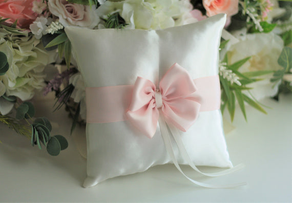Pink Ring Bearer Pillow, Blush Ring Pillow, Pink Ring Holder, Wedding Pillow for Rings, Pink ringkissen
