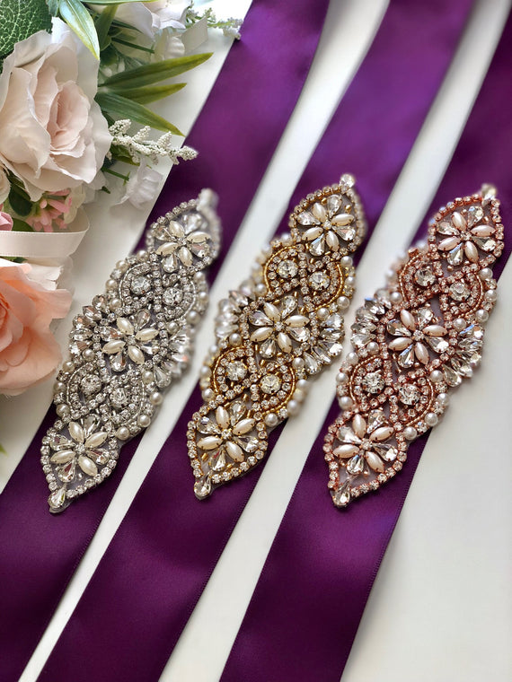 Purple Bridal Belt, Purple Wedding Belt, Rhinestone Bridal Belt, Bridesmaid Belt, Gold Bridal Sash, Bridal Sash Belt, Rose Gold Belt Wedding