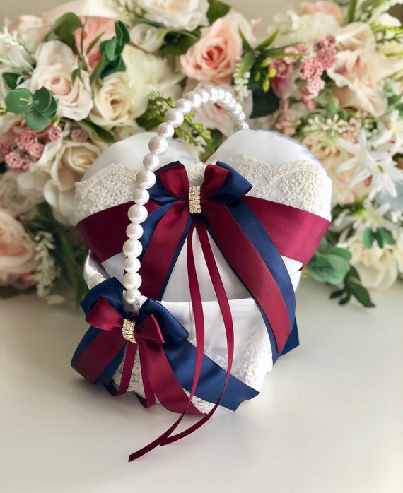 Navy Flower Girl Basket and Burgundy Ring Pillow / Pearl Handle Basket / Red Wedding Basket / Heart Ring Pillow / Navy Ring Bearer Pillow