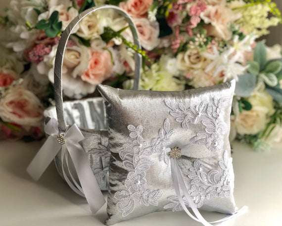 Silver Ring Bearer Pillow & Silver Flower Girl Basket Silver Wedding Basket Silver Ring Holder Silver White Wedding Ring Pillow Basket Set