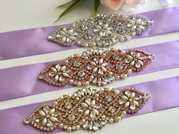 Lilac Bridal Belt, Violet Wedding Belt, Rhinestone Bridal Belts, Bridesmaid Belt, Bridal Accessories, Crystal Bridal Sash, Gold Belt Wedding