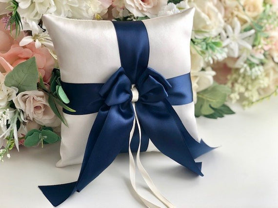 Navy Ring Bearer Pillow, Blue Ring Pillow, Navy Blue Wedding Ring Pillow, Ringkissen, Pillow for Wedding, Navy Ring Holder