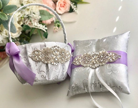 Violet Flower Girl Basket, Violet Ring Bearer Pillow, Violet Wedding Basket and Ring Pillow Set Lilac Ring Holder Silver Flower Girl Baskets