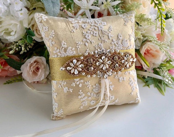 Gold Ring Bearer Pillow / Gold Ring Pillow / Gold Wedding Pillow / Gold Ring Holder / Ivory Gold Pillow for Wedding / Lace Wedding Pillows