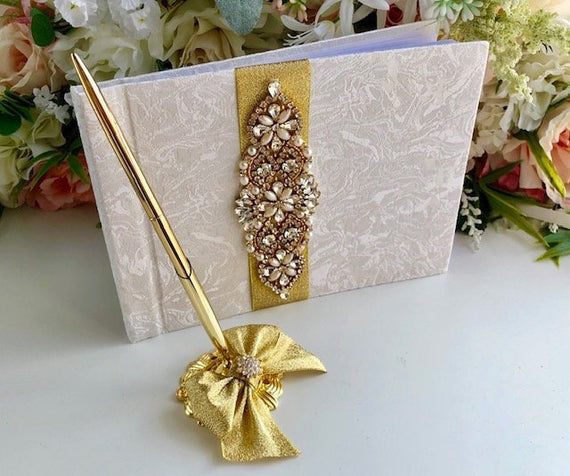 Gold Guest Book with Pen, Wedding Guest Book, Wedding Guestbook, Custom Guest Book, guest book sign, unique guest book, wedding sign