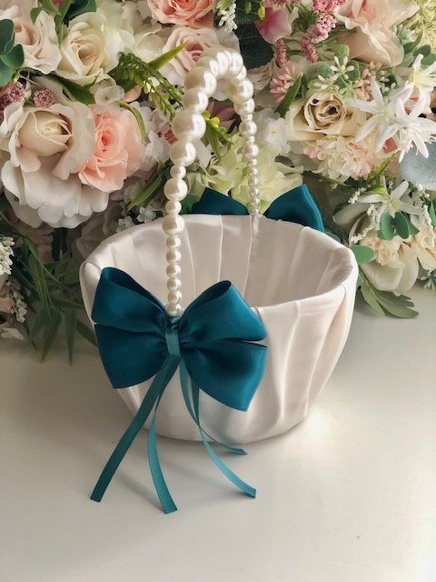 Teal Flower Girl Basket / Teal Wedding Basket / Pearl handle basket / Pearl Wedding basket / Flower Girl Baskets