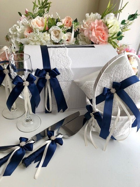 c3d8bf0b22ea6 Navy Flower Girl Basket, Blue Wedding Pillow, Navy Guest Book and Pen, Navy
