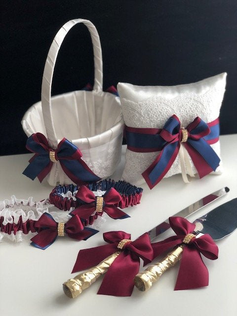 Navy Flower Girl Basket, Navy Ring Bearer Pillow, Burgundy Basket, Burgundy Ring Pillow, Navy Blue Wedding Basket, Navy Red Flower Basket