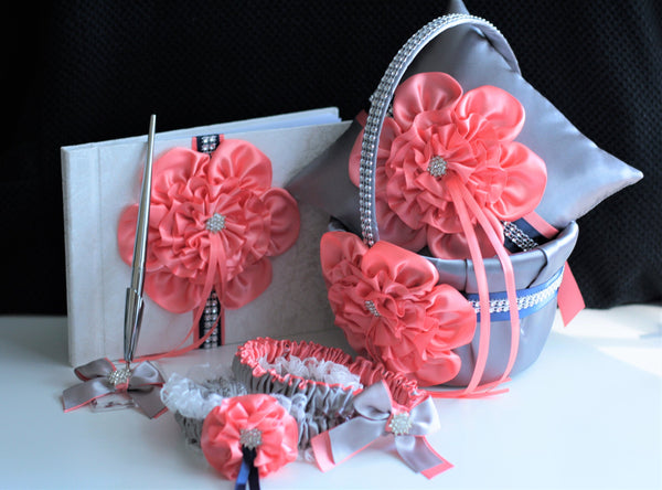 Coral Flower Girl Basket, Coral Ring Bearer Pillow, Gray Wedding Basket, Coral Ring Pillow, Coral Flower Basket, Coral Gray Navy Basket