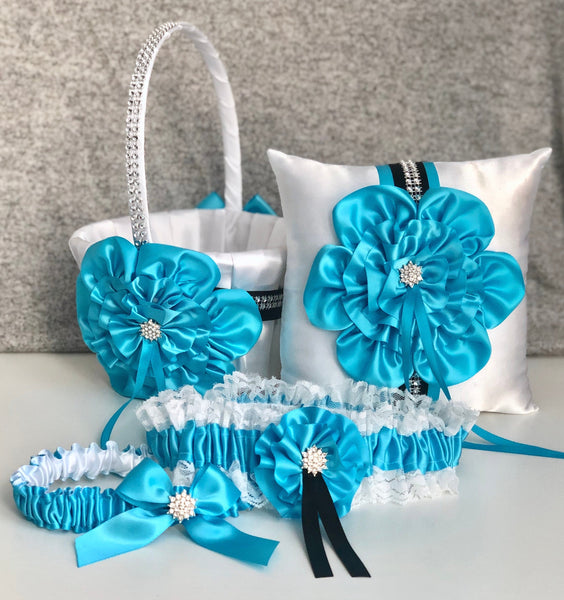 Turquoise Flower Girl Basket, Ring Bearer Pillow, Turquoise Wedding Basket, Turquoise Ring Pillow, Flower Basket, Flower Girl Baskets