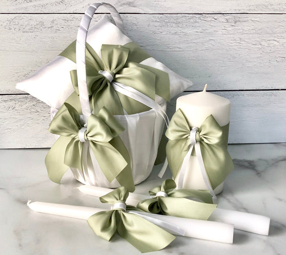 Sage Green Flower Girl Basket, Green Ring Bearer Pillow, Sage Green Wedding Basket Pillow Set, Green Unity Candles, Green Ring Pillow