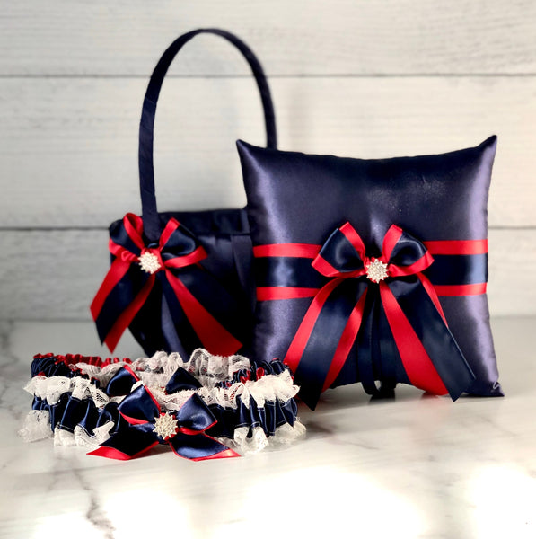 Navy Flower Girl Basket, Navy Ring Pillow, Navy Red Wedding Basket, Blue Red Basket, Navy Ring Bearer, Navy Garters Set, Navy Wedding Pillow