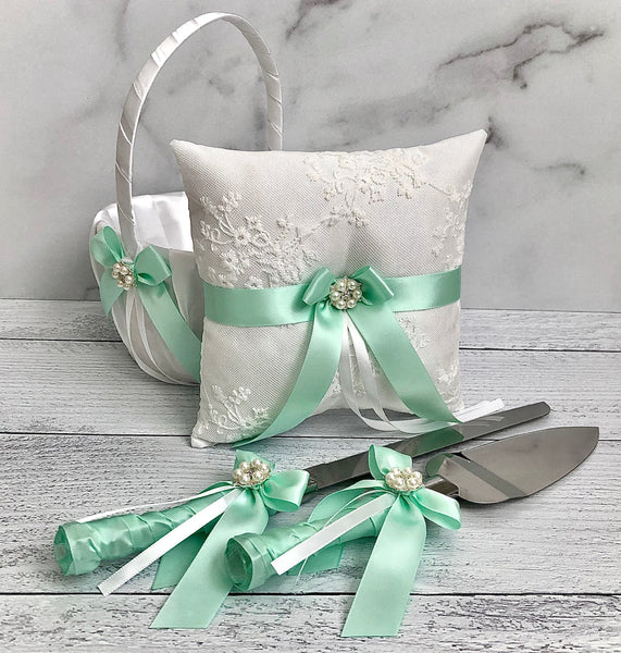 Mint Flower Girl Basket, Mint Ring Pillow, Mint Wedding Basket, Mint Cake Serving Set, Ring Bearer Pillow, Mint Ringkissen