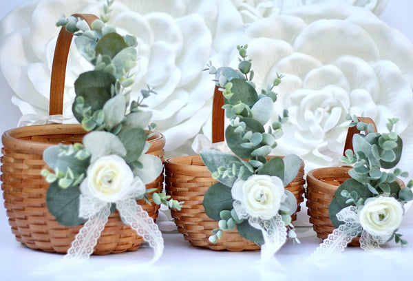Willow Basket, Flower Girl Basket, Willow Flower Basket, Rustic Flower Girl Baskets, Decorated Basket, Wood Wedding Baskets, Flower Baskets