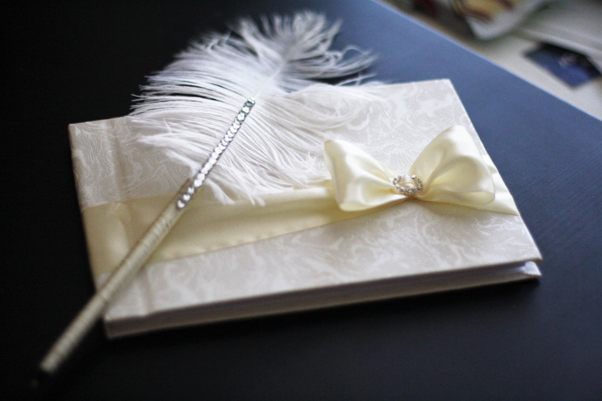 Ivory Wedding Guest Book with Ostrich Feather Pen \\ Ivory Sign in ...