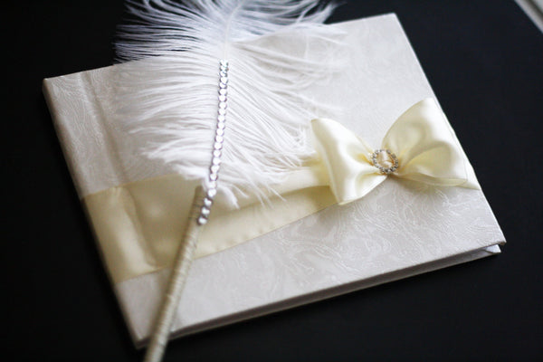 Ivory Wedding Guest Book with Ostrich Feather Pen \ Ivory Sign in Wedding Journal \ Wedding Wishes Book \ Ivory Reception Book with Pen