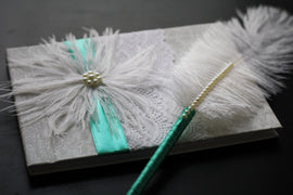 Mint White Wedding Guestbook and Pen Set with Ostrich Feather \ Mint Wedding Guestbook \ Signin Journal \ Wishes book \ Blank Paper Journal