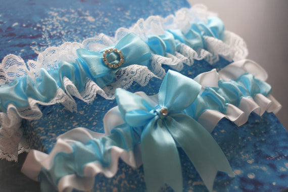 Sky Blue Wedding Bridal Garters Set \ Lace Wedding Garter Belt \ Lace Bridal Accessories \ Bridal Keepsake Garter \ Something Blue New