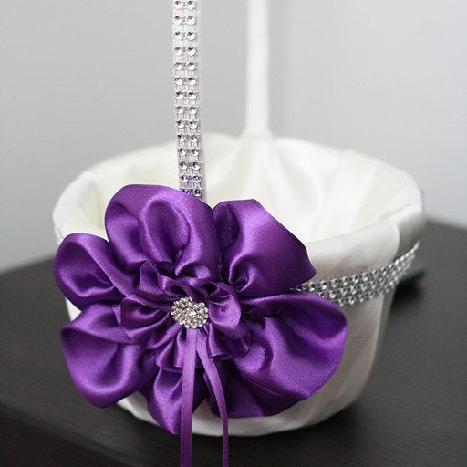 Purple Flower Girl Basket \ White and Violet Wedding Flower Girl Basket \ Purple Floral Basket \ Flower Petals Basket \ Ceremony Accessories