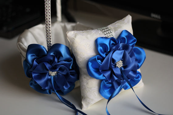Cobalt Flower Girl Basket \ Royal Ring Bearer Pillow \ Royal Blue Wedding Basket \ Blue Wedding Pillow Basket Set \ Royal Blue Bearer Pillow