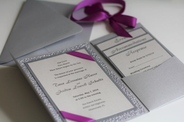 Silver Wedding Invitation in Pocket Fold, Metallic Pebble paper + Purple Wine ribbon + envelopes + Additional Inserts Personalized Invites