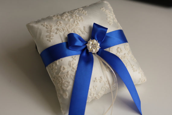 Royal Blue Ring Bearer and Wedding Basket Set \ Blue Flower Girl Basket and Ring Holder Set \ Royal Blue Wedding Ring Pillow and Basket
