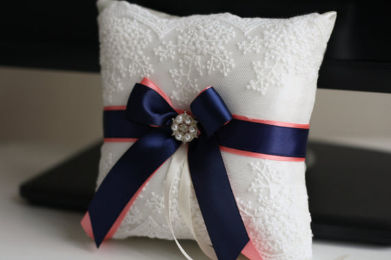 Navy Ring Bearer Pillow \ Coral Wedding pillow + Flower Girl Basket \ Lace Wedding Basket \ coral Lace bearer pillow \ Coral ring bearer
