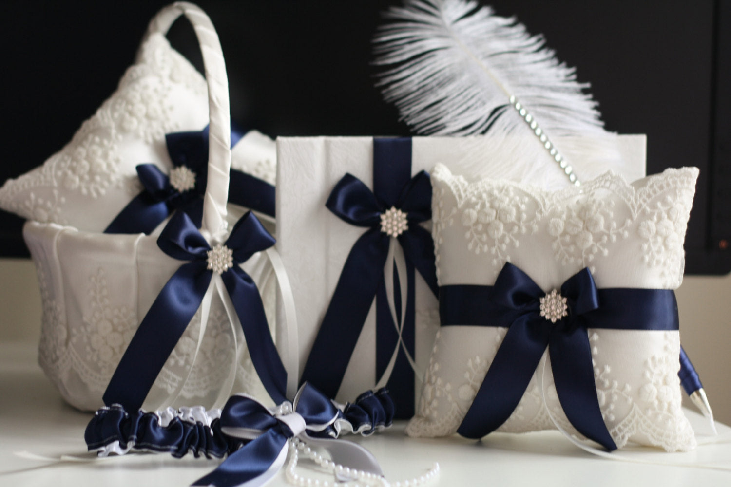 1d06033f65bcc Navy Ring Bearer, Navy Flower Girl Basket, Navy Bearer Pillow, Navy Guest  Book