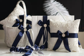 Navy Ring Bearer, Navy Flower Girl Basket, Navy Bearer Pillow, Navy Guest Book with Pen Navy Blue Wedding Accessories Navy Bridal Garter Set
