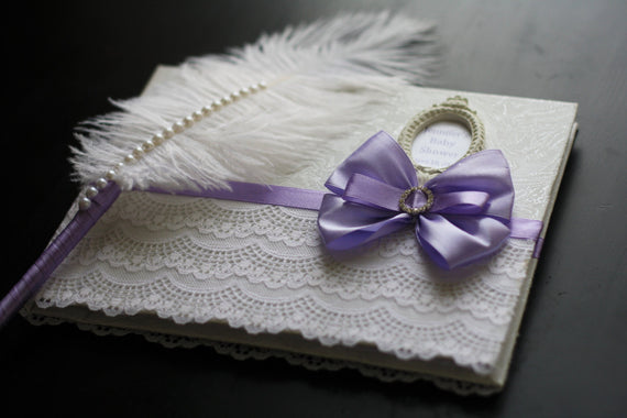 Violet Wedding Guest Book \ Violet Baby shower \ Lavender Wishes Book \ Wedding Sign in Book + Ostrich Feather Pen \ Lavender Wedding Book