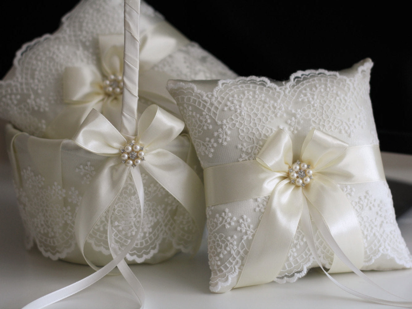 Ivory flower girl basket and ring bearer pillow wedding set alex ivory flower girl basket and ring bearer pillow set ring bearer gift wedding ring izmirmasajfo