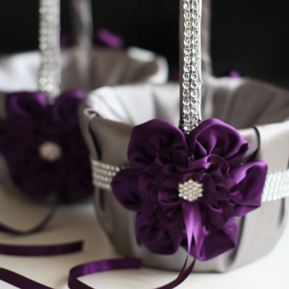 Gray and Plum Wedding Flower Girl Baskets \ Egg Plant and Gray Wedding Baskets \ Ceremony Petals Basket with brooch and Rhinestones Trim
