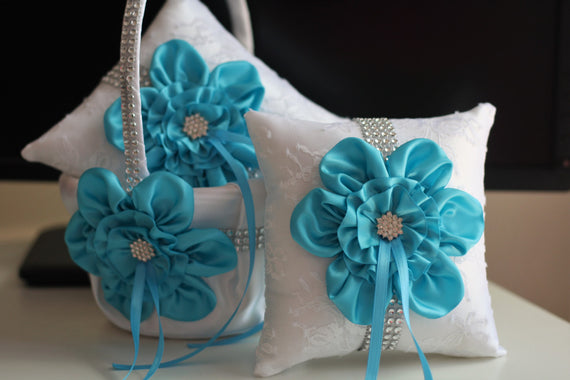 Turquoise Flower Girl Basket \ Turquoise Ring Pillow \ White Sky Blue Bearer Pillow \ Turquoise Wedding Basket Pillow Set \ Sky Blue Basket