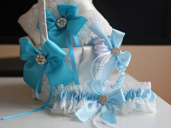 Turquoise Bearer Pillows / Blue Flower Girl Baskets / Blue Bridal Garters / Sky Blue Ring Bearer / Turquoise Baskets / Blue Garter Set
