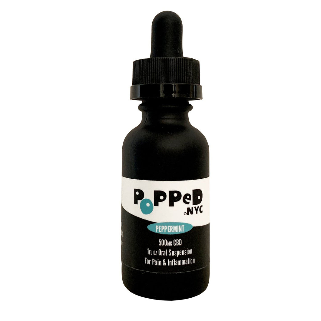 Popped.NYC CBD Isolate Oral Suspension | 500MG Peppermint