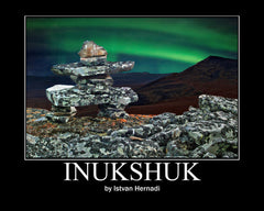 Inukshuk in the Northern Lights
