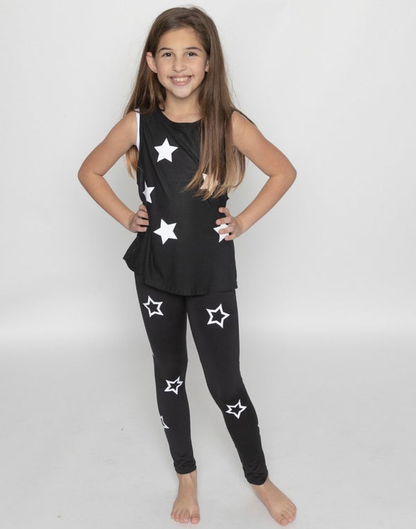 Stars Athleisure Leggings Black/White