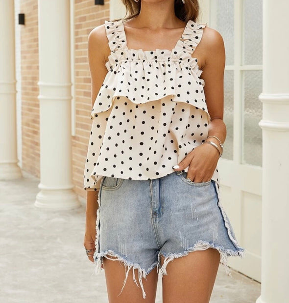 Polka Dot Frills Top