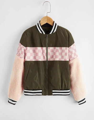 Mixed Print Bomber Jacket